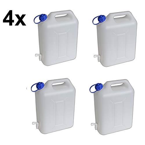 4x 10 Liter Wasserkanister Wassertank Wasserbehälter stabiler Kanister mit Hahn für Camping und Urlaub