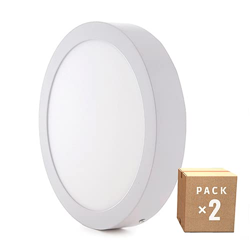 Greenice | Pack x2 Plafón LED de Techo Ø225Mm 18W 1190Lm 30.000H | Downlight LED | Panel LED Techo | Lamparas de techo | Salón, Pasillos, Dormitorio, Oficina, Baños | Blanco Cálido