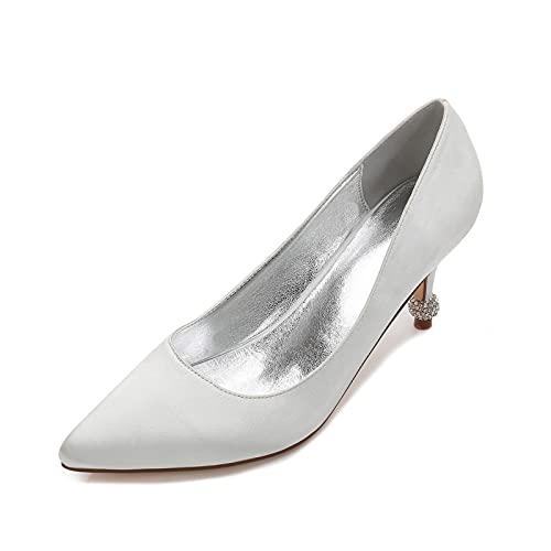 Zapatos De Novia con Punta Cerrada para Mujer Tacones Altos Cómodos De...