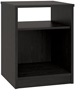 Mainstays Nightstand Features Open Top Shelf and Bottom Cubby, Black