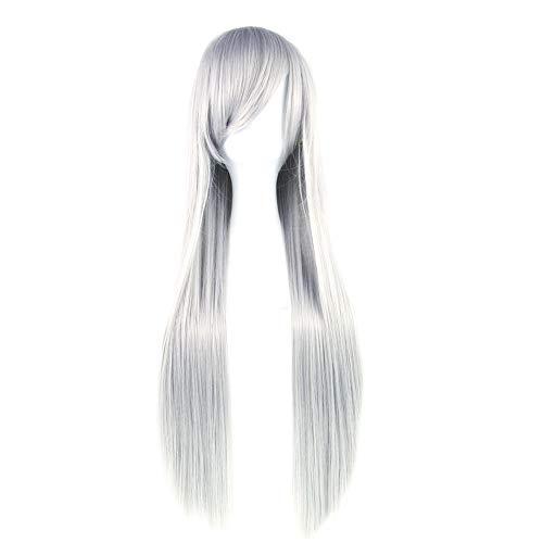 milopon peluca Mujer peluca naturales largo peluca para mujer Chica Cosplay, gris, 80 cm
