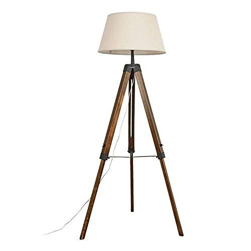 COOLSHOPY Lámpara de pie estilo retro nórdico para sala de estar creativa americana rural de madera maciza trípode