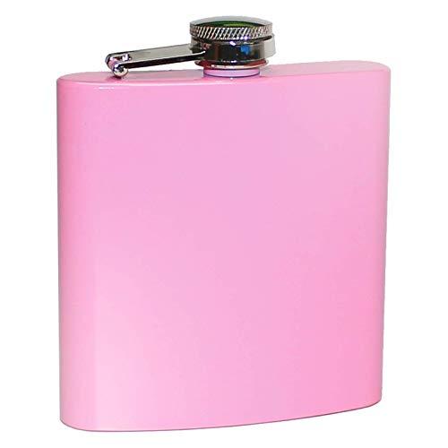 Pixelstudio Pinker Flachmann für Frauen | 6oz - ca. 180ml | Rosa Taschenflasche für Alkohol, Schnaps, Rum | Lustiger Scherzartikel & Geschenk Idee