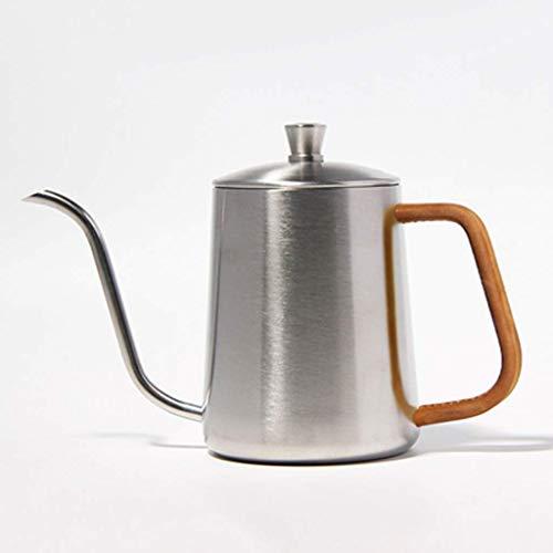 Bouilloire électrique Pot d'isolation Longue Bouche Fine Mouth Cafetière en Acier Inoxydable Filtre Pot Contrôle Eau Lisse 600 ML (Couleur: Argent)