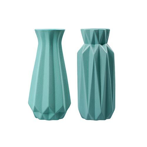 FanChose florero de cerámica para la decoración casera, florero de cerámica Moderna de Plantas de Flores Conjunto de 2 Floral Decorativo florero para la Sala centros de Mesa, Verde
