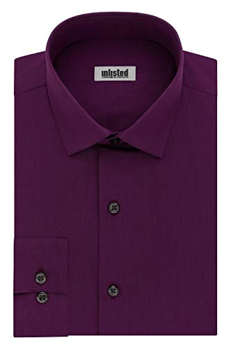 Kenneth Cole Unlisted Men's Dress Shirt Slim Fit Solid ,  Raspberry,  15'-15.5'Neck 32'-33'Sleeve