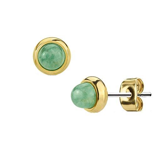 Beyoutifulthings Damen 1 Paar Stud Ohr-ring Set Ohr-Stecker Chirurgenstahl vergoldet Halbedelsteine eingefasst Grüne Jade