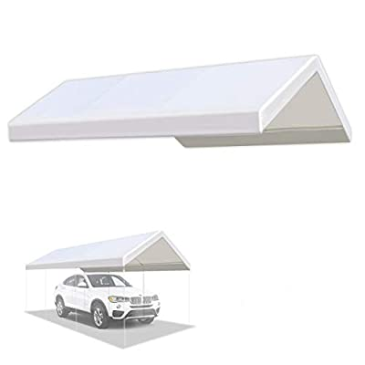 YardGrow 10 x 20-Feet Carport Replacement Top Canopy Cover for Tent Garage Shelter with Ball Bungees Cords White (Only Cover, Frame Not Included)