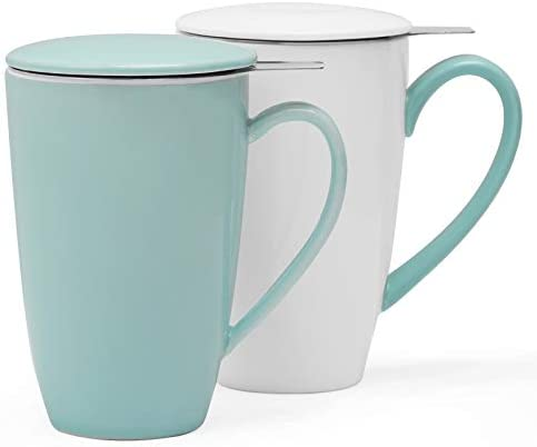 amHomel 2 pack Tea Cup with Infuser and Lid 15 oz Tea Strainer Mug for Loose Tea MintGreen product image