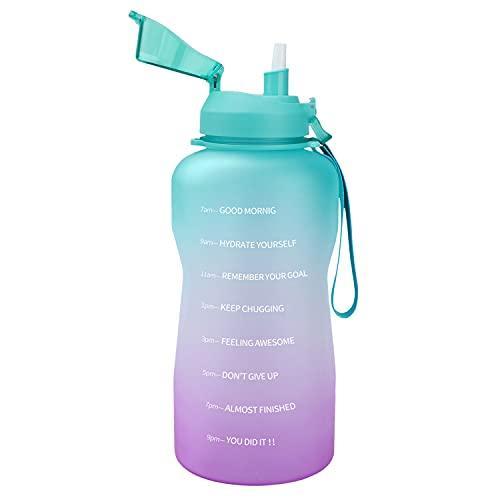 3.8l Borraccia con Cannuccia Sportiva Bottiglia Acqua Motivazionale Borracce da Escursionismo Palestra Riutilizzabile Personalizzata 3.8 Litro