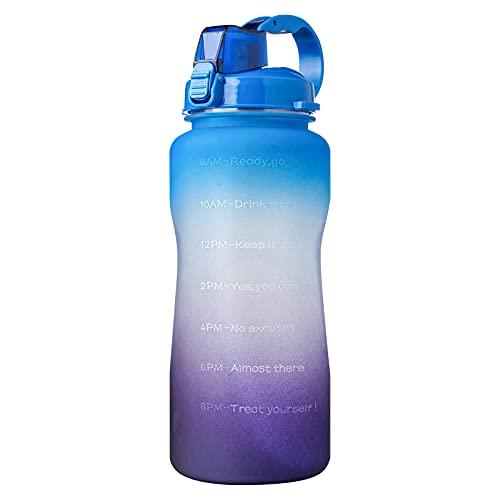 Jodimitty Botella de agua con pajita y asa, botellas de agua a prueba de fugas, sin BPA, cierre de 1 clic, gran jarra de agua deportiva para gimnasio, viajes y exteriores (azul lila, 3,8 L)