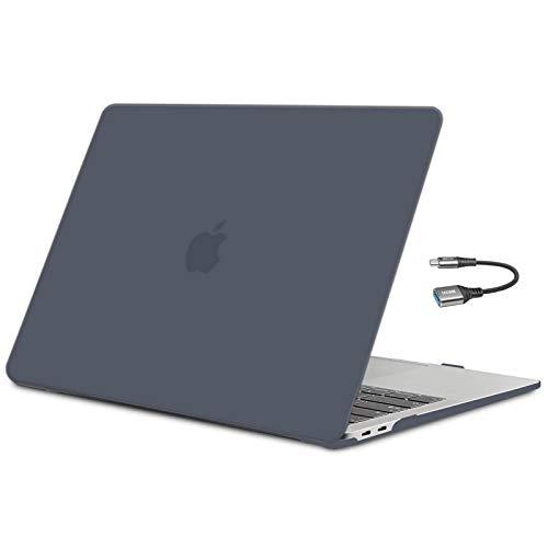 TECOOL Funda para MacBook Air 13 Pulgadas 2018 2019 2020 (Modelo: A2337 M1/A2179/A1932), Cubierta de Plástico Dura Case Carcasa y Adaptador USB C para Nuevo MacBook Air 13 con Touch ID - Negro Claro