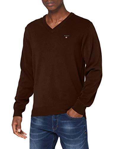GANT Herren Superfine Lambswool V-Neck Pullover, DK Brown Melange, XL