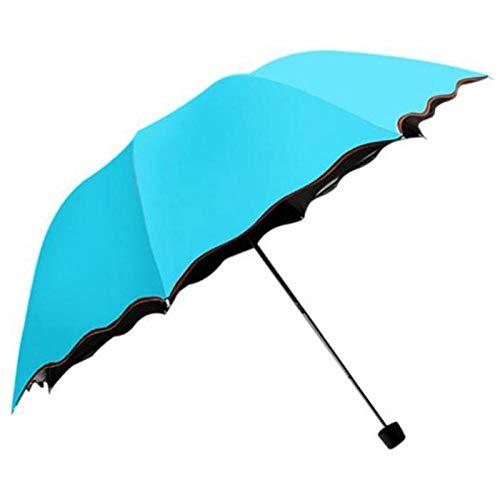 Paraplu voor op reis, automatische paraplu voor dames, heren, winddicht, 3 lampen, inklapbaar, duurzaam, sterke paraplu, zonnig paraplu, zwart, random color (blauw) - 9869322764790