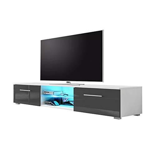 Edith – TV-Lowboard / TV-Bank / Fernsehschrank (140 cm, Weiß Matt / Grau Hochglanz, LED in Blau)