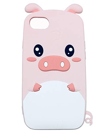 TopFunny iPhone 8 Case, iPhone SE 2020 Silicone Case 3D Cute Cartoon Pink Pig Soft Silicone Rubber Bumper Protective Gel Cover Shockproof Case for Apple iPhone SE2/8/7 4.7' 2017 Cute Pig