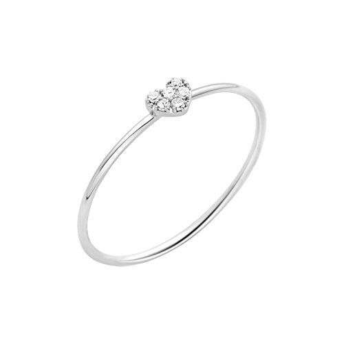 Miore Schmuck Damen 0.03 Ct Diamant Verlobungsring Herz mit Diamanten Brillanten Ring aus Weißgold 9 Karat / 375 Gold