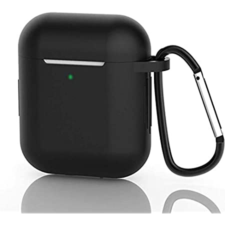 AirPods Case, Silicone Protective Cover Compatible with Apple AirPods 1/2 Shock Resistant Waterproof AirPods Cover with Carabiner Anti-Lost Strap Anti-Dust Plug Front LED Indicator Visible(Black)