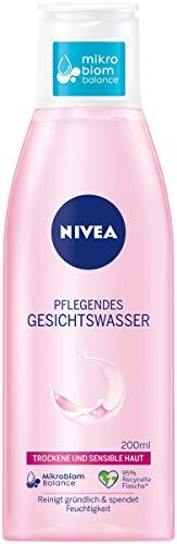 NIVEA Pflegendes Gesichtswasser für trockene und sensible Haut (200 ml), Gesichtspflege beruhigt die Haut, Gesichtstoner pflegt besonders zart mit Mandelöl