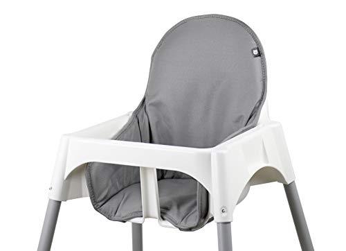 Tinydo Hochstuhl-Sitzkissen optimal für Ikea und alle ähnlichen Treppenhochstühle - 2teilg. Set mit Memory-Schaum-Dämpfung Sitzverkleinerer-Auflage für Babystühle- rutschfest, pflegeleicht (hellgrau)