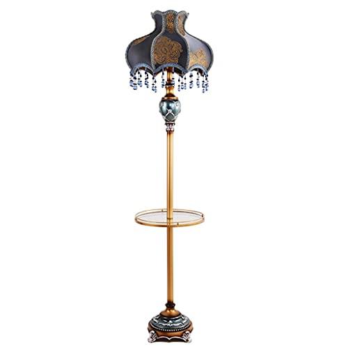 Lámparas de Pie Lámpara de Piso Luz de Pie Lámpara de pie de estilo rural de campo de campo con mesa de fin de bandeja Lámpara de piso de pie alto altura tradicional Luz de lectura Luz de alto polo Lá