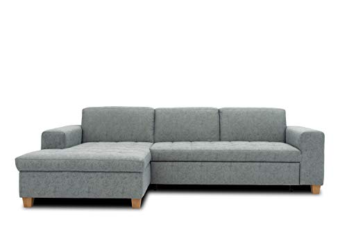 DOMO. collection Sugar Ecksofa | Sofa in L-Form, Eckcouch Polstergarnitur, blau-grau, 266x162x80 cm