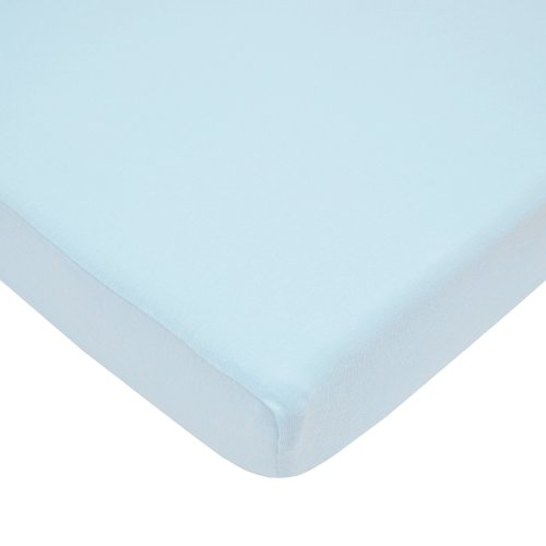 American Baby Company 100% Natural Cotton Value Jersey Knit Fitted Portable/Mini-Crib Sheet, Blue, Soft Breathable, for Boys and Girls, Pack of 1