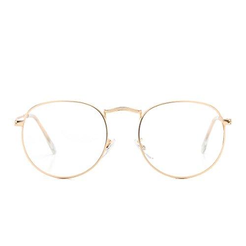 AZORB Round Clear Lens Glasses Circle Metal Frame Non-Prescription Eyeglasses for Men Women (Gold, 50)