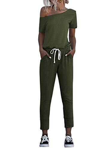 Auxo Mujer Monos con Hombros Descubiertos Camiseta Manga Corta Tops Mono Casual Elástico Cintura Suelta Pantalón Largo Mamelucos 07-Ejercito Verde XL