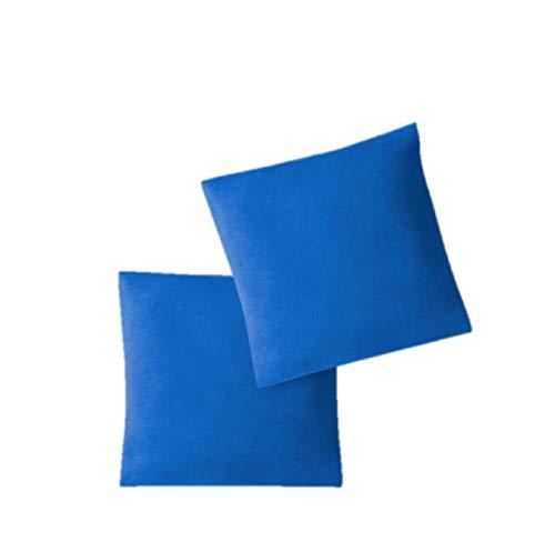 EXKLUSIV HEIMTEXTIL Fundas de Almohada de Jersey 2 Pack económico con Cremallera 40 x 40 cm Azul Real