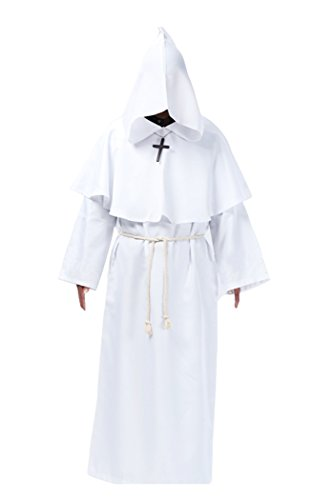Cos2be Medieval Priest Monk Robe-Hooded Cap Cloak (large, white)