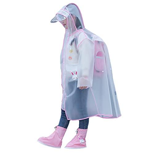 GDSSX Niños Capa de Lluvia Transparente Impermeable a Prueba de Viento Lluvia Ligera a Prueba de Viento Poncho para niños niñas Poncho de Emergencia (Color : Pink, Size : XL)