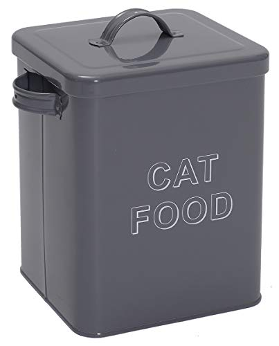 Pethiy Cat Food and Treats Containers Set with Scoop for Cats or Dogs -Tight Fitting Wood Lids - Coated Carbon Steel - Storage Canister Tins-Cat-Gray