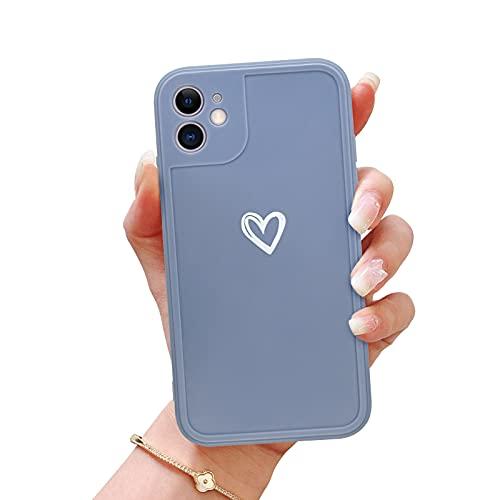 Newseego Funda Compatible con iPhone 12 5G, Carcasa Protectora Antigolpes con Parachoques de TPU Suave para iPhone 12 Love Heart Anti-Choques Silicona Delgada Case de Telefono para iPhone 12-Gris