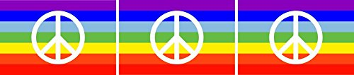 Etaia ® - 2,5x4 cm - 3X Mini Auto Aufkleber Fahne/Flagge Regenbogen Rainbow Peace Frieden kleine Sticker Fahrrad Motorrad Bike