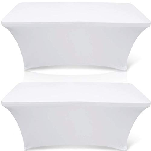 Wealuxe 6-feet Rectangle Tablecloth - Stretchable Table Cloth Cover, White, 2 Pack