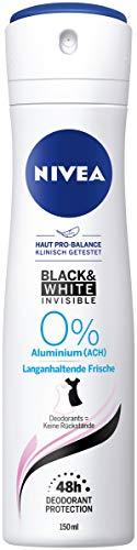Nivea Black & White Invisible Deo Spray (150 ml), Deo zonder aluminium (ACH) tegen deodorant op de kleding, deodorant met 48 uur bescherming verzorgt de huid