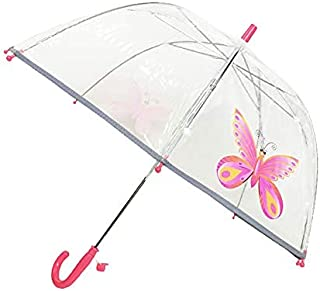 SMATI Parapluie Enfant Transparent Cloche - Bordure Fluorescente (Rose Papillon)