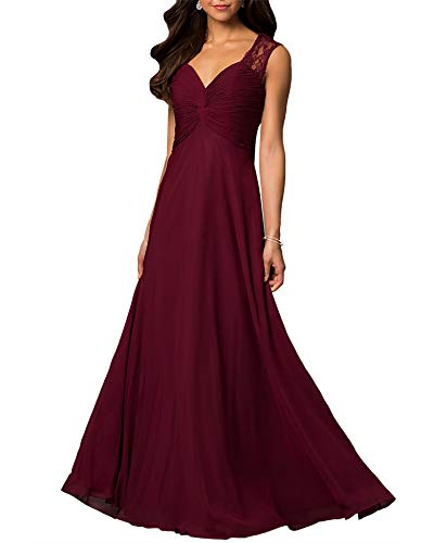 Roiii Women's Elegant Chiffon Ruched Bust Bridesmaid Evening Gown Sleeveless Formal Cocktail Maxi Prom Dress (Medium, Wine Red)