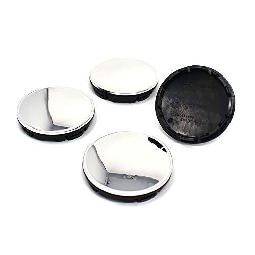 Finest Folia Juego de 4 x Buje Tapa 56 mm tapacubos para Llantas ABS Plástico Accesorios universales para el Coche (Cromo)