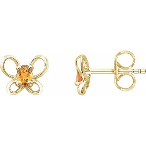 Pendientes de oro amarillo de 14 quilates de noviembre, con alas de ángel de mariposa pulidas con espalda de fricción, joyería regalos para mujeres