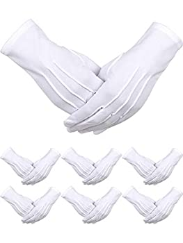 6 Pairs Uniform Gloves Parade Costume Gloves for Police Formal Tuxedo Guard  White Polyester