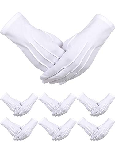 6 Pairs Uniform Gloves Parade Costume Gloves for Police Formal Tuxedo Guard (White, Polyester)