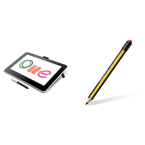 Wacom One Digital Drawing Tablet with Staedtler Noris Digital Jumbo EMR Stylus with Soft Digital Eraser for Art and Animation Beginners