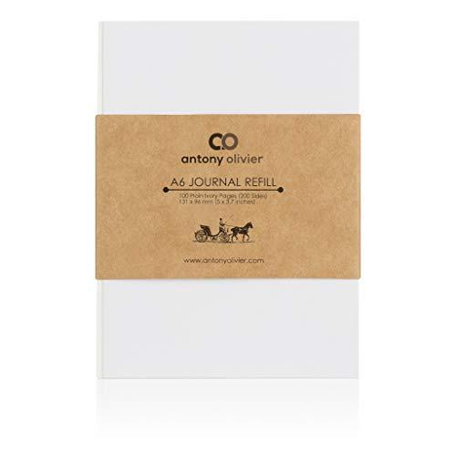 Antony Olivier Notizbuch-Nachfüllungen Einsätze | Ungefüttertes Blankopapier - 3er-Set | Papier nachfüllen | 100 Blatt Farbe Elfenbein | Größe A6 (131 x 96 mm)