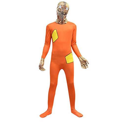 RENJIANFENG Sacchetto di Lino Scheletro Adulti Costume Operato Morphsuit Halloween Costume Operato Tuta Copricapo Separazione Terrore Mostro Cosplay Costume da Gioco Anime Costumi,160