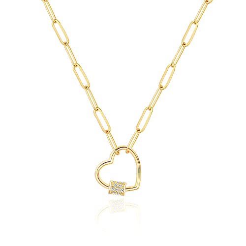 18K Gold Paperclip Chain Necklace Fashion Open Love Heart Pendant Necklace with Micro-pave Cubic Zirconia Screw Lock Carabiner Lock Neck Jewelry for Women Girls