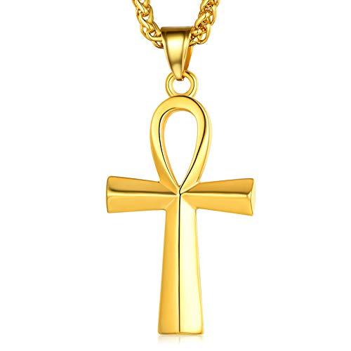 FaithHeart Pendentif Croix de Vie Egyptienne Or 18 Carats,Collier Amulette Ankh Croix Acier Inoxydable Bijoux Protection Porte Bonheur Cadeau pour Homme