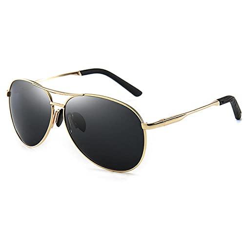 WQZYY&ASDCD Gafas de Sol Gafas De Sol Polarizadas con Montura Metail De Aviación, Gafas De Sol Que Cambian De Color paraHombre, Piloto, Visión Nocturna Diurna Masculina, Conducción-C3_Gold_Grey