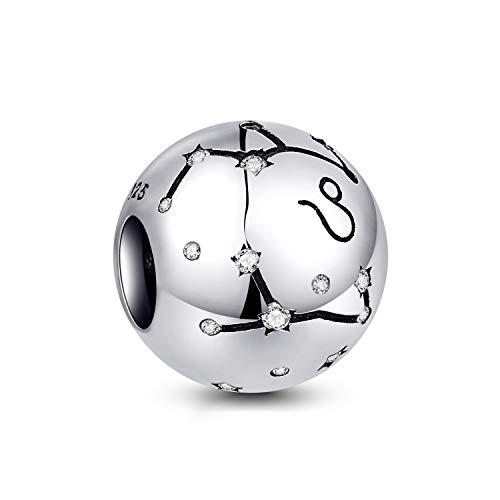 NINGAN Leo Encantos del Cumpleaños de 12 Signos del Zodiaco - Encantos de Plata Esterlina de 925 Ajustan Pulsera & Collar de - Regalos de cumpleaños Ideales para Mujeres y Amigos